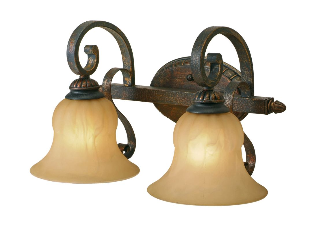 Golden Lighting 7116-BA2 Mayfair 2 Light Bathroom Vanity Light Leather