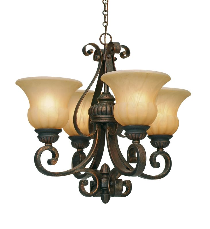 Golden Lighting 7116-GM4 Mayfair 4 Light Mini Chandelier Leather