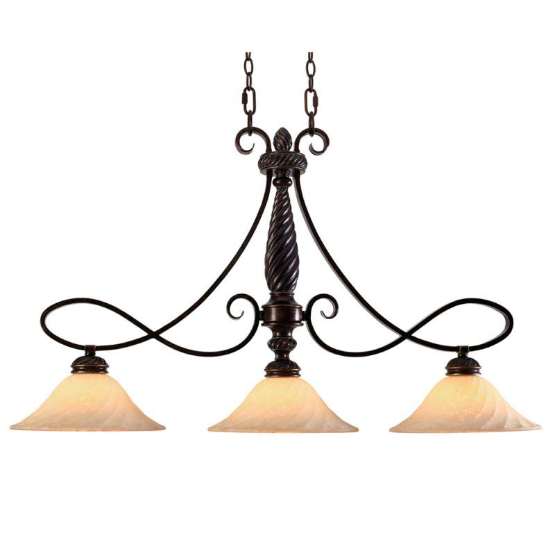 Golden Lighting 8106-10 Torbellino 3 Light Linear Chandelier Cordoban