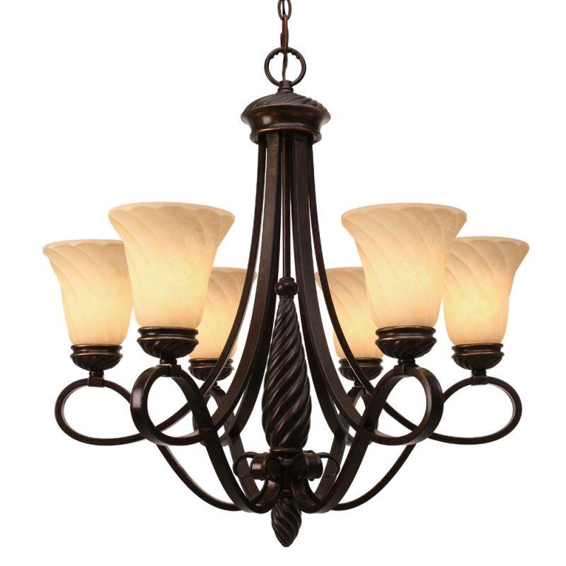 Golden Lighting 8106-6 Torbellino 6 Light Foyer Chandelier Cordoban