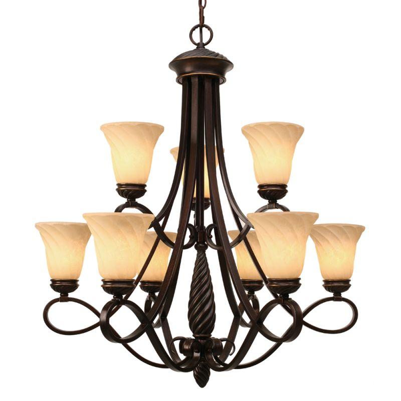 Golden Lighting 8106-9 Torbellino 9 Light Chandelier Cordoban Bronze