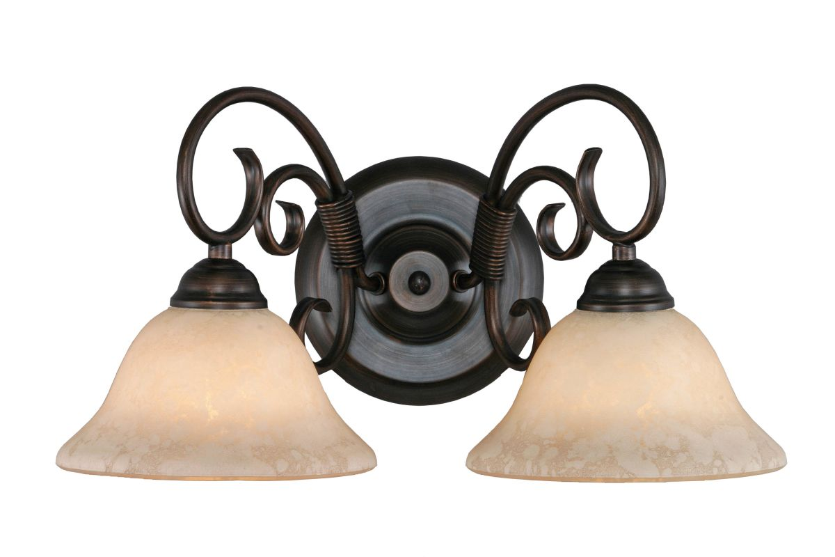 Golden Lighting 8602 Homestead 2 Light Bathroom Vanity Light Rubbed