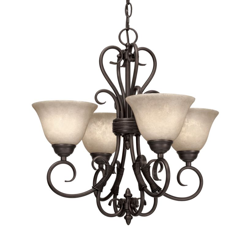 Golden Lighting 8606-GM4 Four Light Mini Chandelier from the Homestead