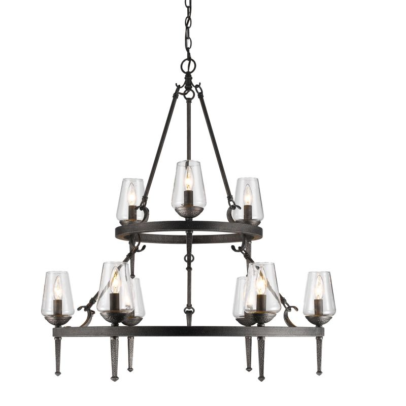 "Golden Lighting 1208-9 Marcellis 9 Light 1 Tier 34"" Wide Chandelier"
