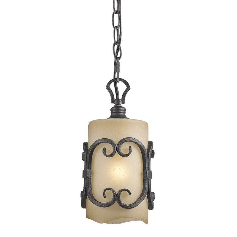 Golden Lighting 1821-M1L Madera Mini Pendant with 1 Light Black Iron