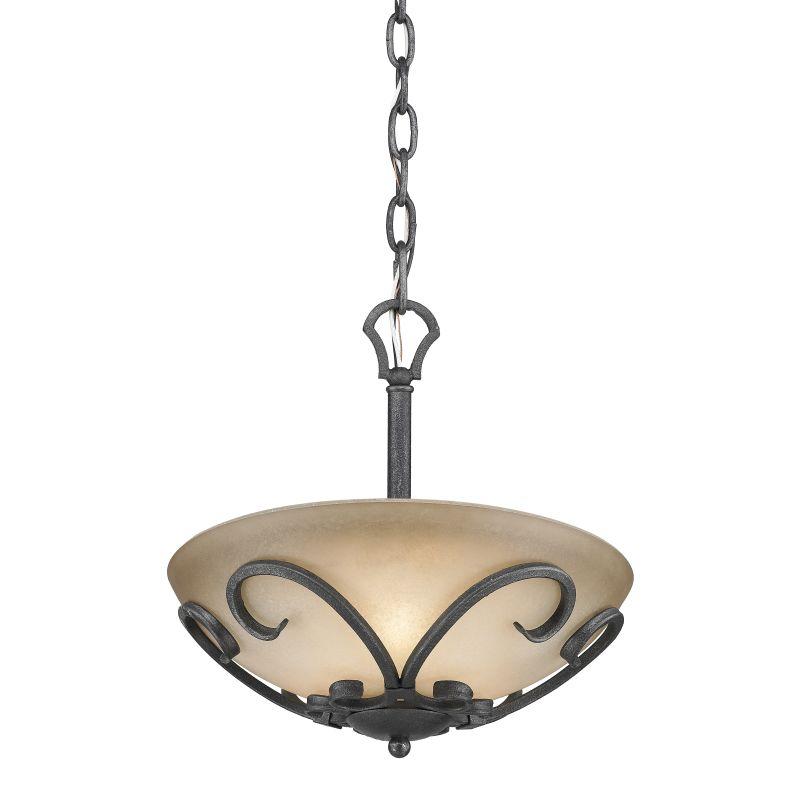 Golden Lighting 1821-SF Madera Bowl Pendant with 3 Lights Black Iron