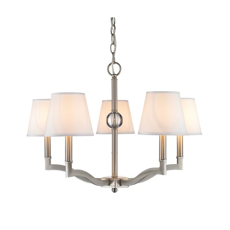 Golden Lighting 3500-5-CWH Waverly 5 Light 1 Tier Chandelier with