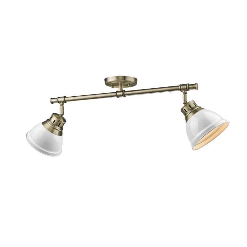 """Golden Lighting 3602-2SF AB Duncan 2 Light 27"""" Wide Semi- Flush"""