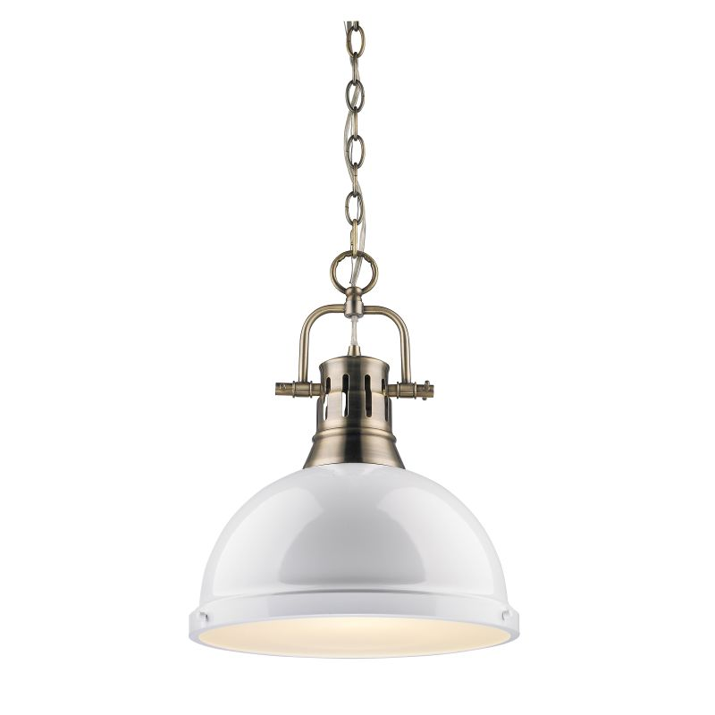 Golden Lighting 3602 L AB WH Aged Brass Duncan 1 Light