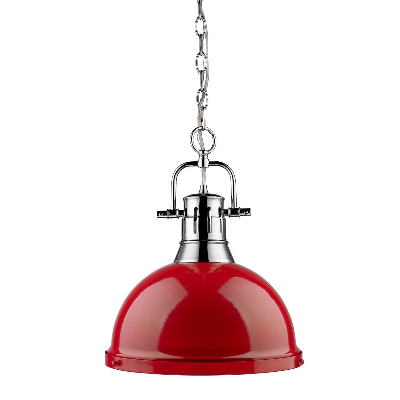 Golden Lighting 3602-L-RD Duncan 1 Light Industrial Pendant with Red