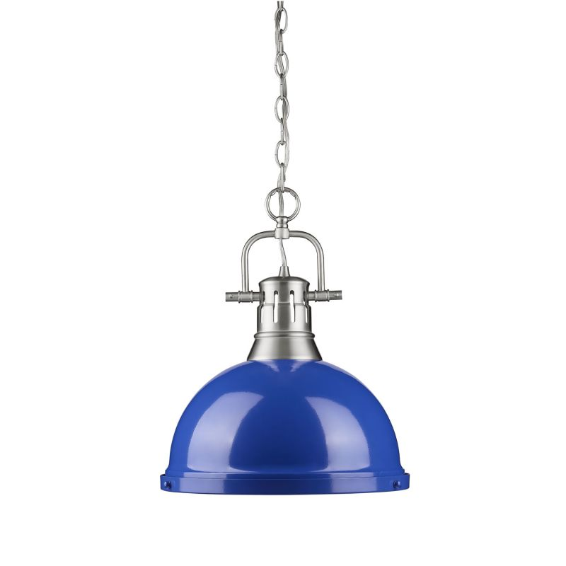 Golden Lighting 3602-L Duncan 1 Light 14&quote Wide Pendant Pewter / Blue
