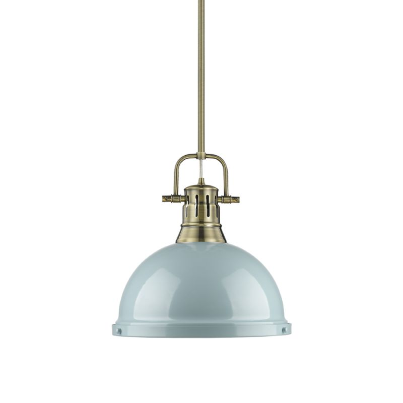 "Golden Lighting 3604-L-AB Duncan Single Light 14"" Wide Pendant with"