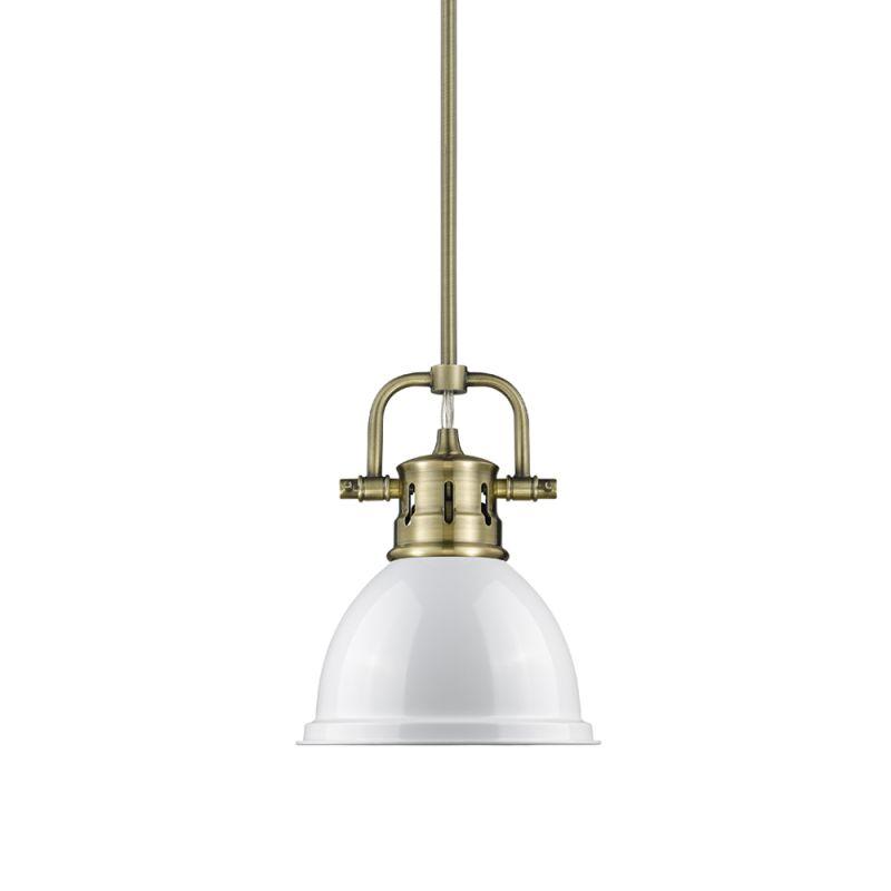 "Golden Lighting 3604-M1L AB Duncan Single Light 7"" Wide Mini Pendant"