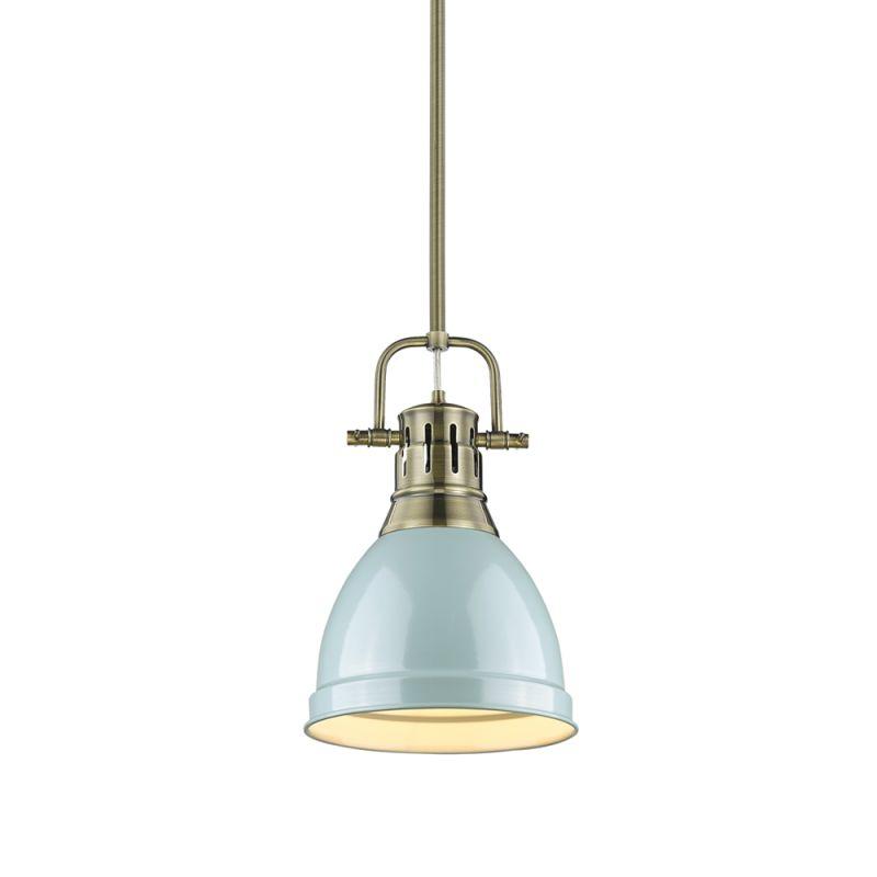 """Golden Lighting 3604-S-AB Duncan Single Light 9"""" Wide Mini Pendant"""