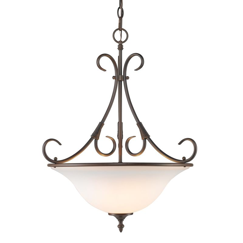 Golden Lighting 8606-3P-OP Homestead 3 Light Bowl Shaped Pendant with