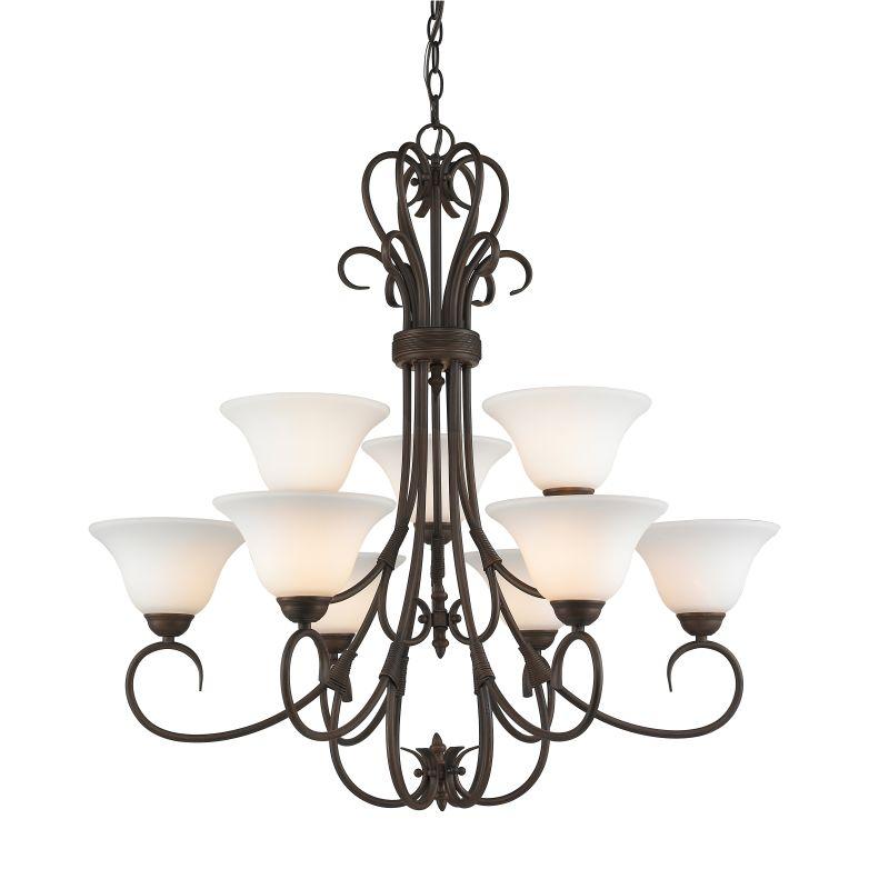 Golden Lighting 8606-9-OP Homestead 9 Light 2 Tier Chandelier with