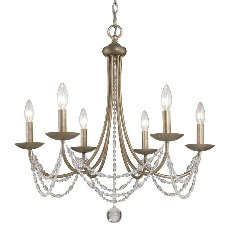 Golden Lighting 7644-6 Mirabella 6 Light Crystal Chandelier Golden