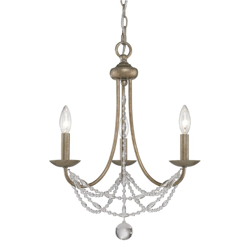 Golden Lighting 7644-M3 Mirabella 3 Light Mini Chandelier Golden Aura