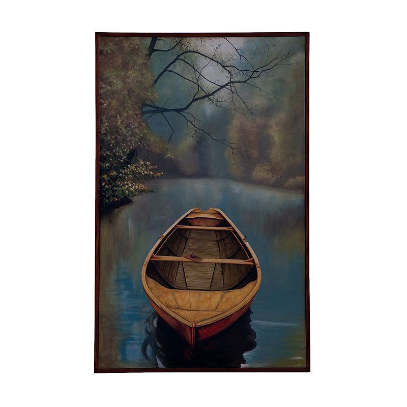GuildMaster 162514 48 Inch x 30 Inch River Boat Framed Hand-Painted