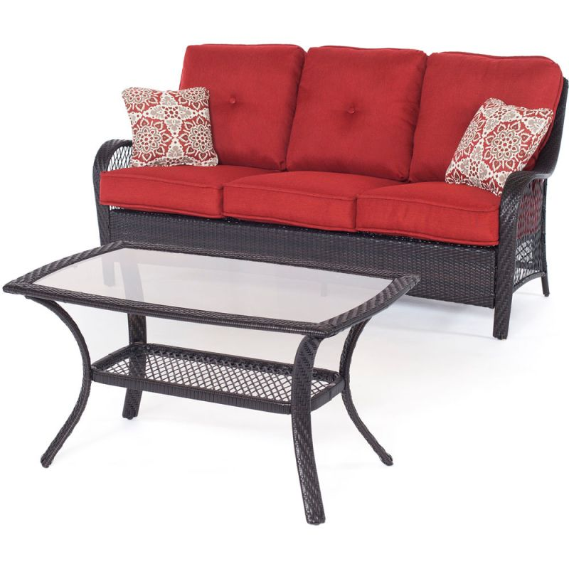 Hanover ORLEANS2PC Orleans 2-Piece Steel Framed Resin Wicker Outdoor