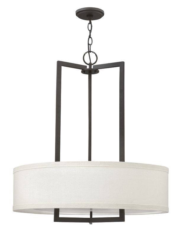 "Hinkley Lighting 3204 3 Light 1 Tier Drum Chandelier from the Hampton Sale $599.00 ITEM: bci2635746 ID#:3204KZ UPC: 640665320480 Three Light Single Tier Drum Chandelier from the Hampton Collection Features: Off-White Linen Hardback fabric drum shade Includes decorative acrylic etched bottom lens Made of metal Designed to cast light both upwards and downwards Includes 5' of chain and 12' of wire Suitable for dry locations Lamping Technology: Bulb Base - Medium (E26): The E26 (Edison 26mm), Medium Edison Screw, is the standard bulb used in 120-Volt applications in North America. E26 is the most common bulb type and is generally interchangeable with E27 bulbs. Specifications: Bulb Base: Medium (E26) Bulb Included: No Canopy Diameter: 5"" Chain Length: 60"" Height: 30.25"" (measured from ceiling to bottom most point of fixture) Material: Other Metals Number of Bulbs: 3 Number of Tiers: 1 Product Weight: 24 lbs Shade Height: 7"" Shade Width: 26"" Sloped Ceiling Compatible: No Title 24: No UL Rating: Dry Location Voltage: 120v Wattage: 300 Watts Per Bulb: 100 Width: 26"" (measured from furthest point left to furthest point right on fixture) Wire Length: 144"" Compliance: UL Listed - Indicates whether a product meets standards and compliance guidelines set by Underwriters Laboratories. This listing determines what types of rooms or environments a product can be used in safely. About Hinkley Lighting: Since 1922, Hinkley Lighting has been driven by a passion to blend design and function in creating quality products that enhance your life. Hinkley is continually recommended by interior and exterior designers, and is available to you through premier lighting showrooms across the country. They pride themselves in delivering superior customer service that is second to none. They know that you have goals when it comes to your home's décor, and they care about helping you achieve the final outcome you are looking for in every aspect. :"