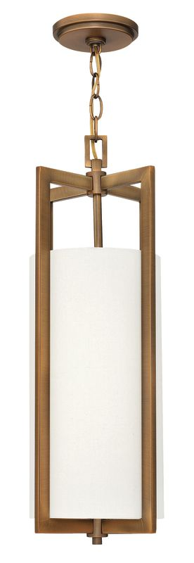 """Hinkley Lighting 3217-LED 1 Light LED Mini Pendant from the Hampton Sale $419.00 ITEM: bci2635780 ID#:3217BR-LED UPC: 640665321753 Single Light LED Mini Pendant from the Hampton Collection Features: Off-White Linen Hardback fabric cylinder shade Made of metal Designed to cast light both upwards and downwards Includes 10' of chain and 12' of wire Can be mounted facing upwards only Energy efficient Suitable for dry locations Lamping Technology: LED - Light Emitting Diode: Highly efficient diodes produce little heat and have an extremely long lifespan. Specifications: Bulb Included: Yes Bulb Type: LED Canopy Diameter: 5"""" Chain Length: 120"""" Height: 22.5"""" (measured from ceiling to bottom most point of fixture) LED: Yes Material: Other Metals Number of Bulbs: 1 Product Weight: 7 lbs Shade Height: 14.5"""" Shade Width: 7.25"""" Sloped Ceiling Compatible: No Title 24: No UL Rating: Dry Location Voltage: 120v Wattage: 15 Watts Per Bulb: 15 Width: 9.25"""" (measured from furthest point left to furthest point right on fixture) Wire Length: 144"""" Compliance: UL Listed - Indicates whether a product meets standards and compliance guidelines set by Underwriters Laboratories. This listing determines what types of rooms or environments a product can be used in safely. About Hinkley Lighting: Since 1922, Hinkley Lighting has been driven by a passion to blend design and function in creating quality products that enhance your life. Hinkley is continually recommended by interior and exterior designers, and is available to you through premier lighting showrooms across the country. They pride themselves in delivering superior customer service that is second to none. They know that you have goals when it comes to your home's décor, and they care about helping you achieve the final outcome you are looking for in every aspect. :"""