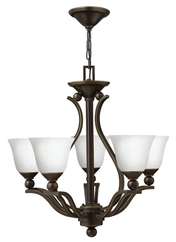 Hinkley Lighting 4655-OPAL Bolla 5 Light 1 Tier Chandelier with Etched