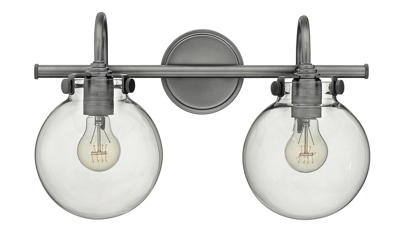 Hinkley lighting 50024an antique nickel 2 light for Hinkley bathroom vanity lighting