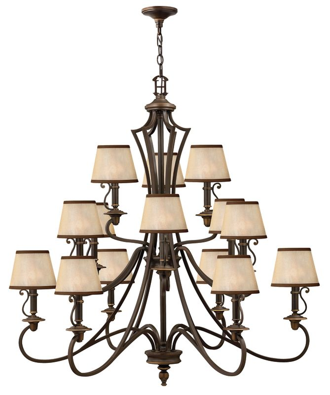 Hinkley Lighting H4249 Plymouth 15 Light 3 Tier Chandelier Olde Bronze