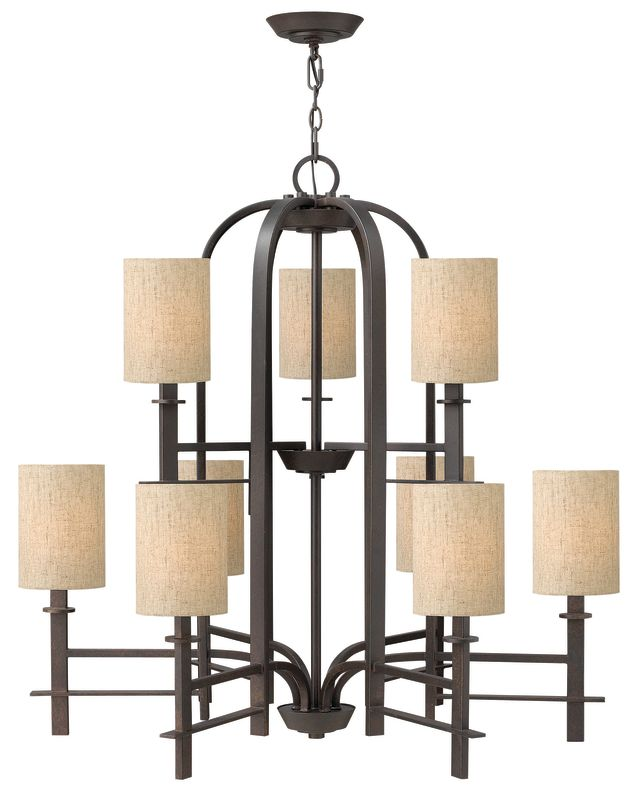 Hinkley Lighting 4548 Sloan 9 Light 2 Tier Chandelier Regency Bronze