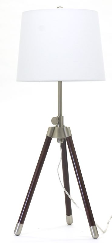 House of Troy TR250 Adjustable Tripod Table Lamp Satin Nickel Lamps