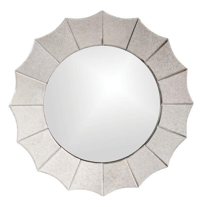 """Howard Elliott 11070 Rupal 32"""" x 32"""" Round Mirror Beige Home Decor"""