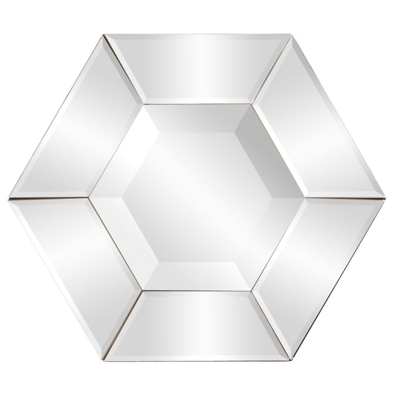 "Howard Elliott 11122 Nexus 12"" x 12"" Hexagonal Mirror Clear Home Decor"