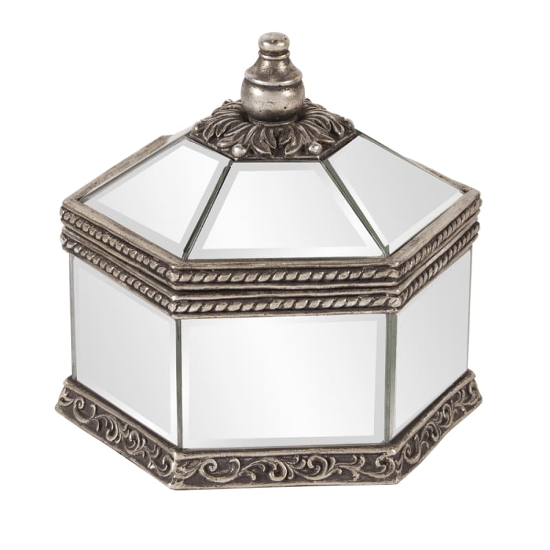 "Howard Elliott Octagonal Mirrored Jewelry Box 9"" Wide Glass and Wood"