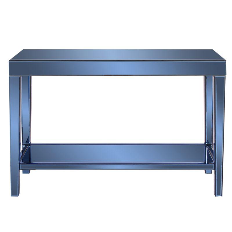 "Howard Elliott Dorset Cobalt Blue Mirrored Console Table 44"" Wide Wood"