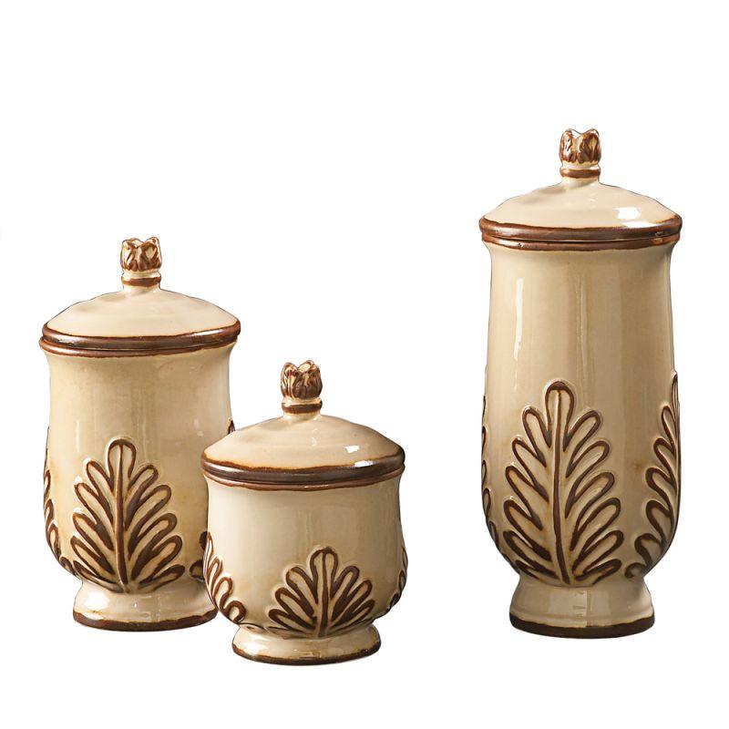 Howard Elliott White and Mocha Ceramic Urn Set Set of 3 Ceramic Urns