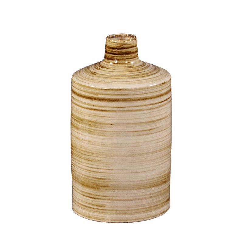 """Howard Elliott Short Beige Glazed Ceramic Vase 18"""" Tall Ceramic Vase"""
