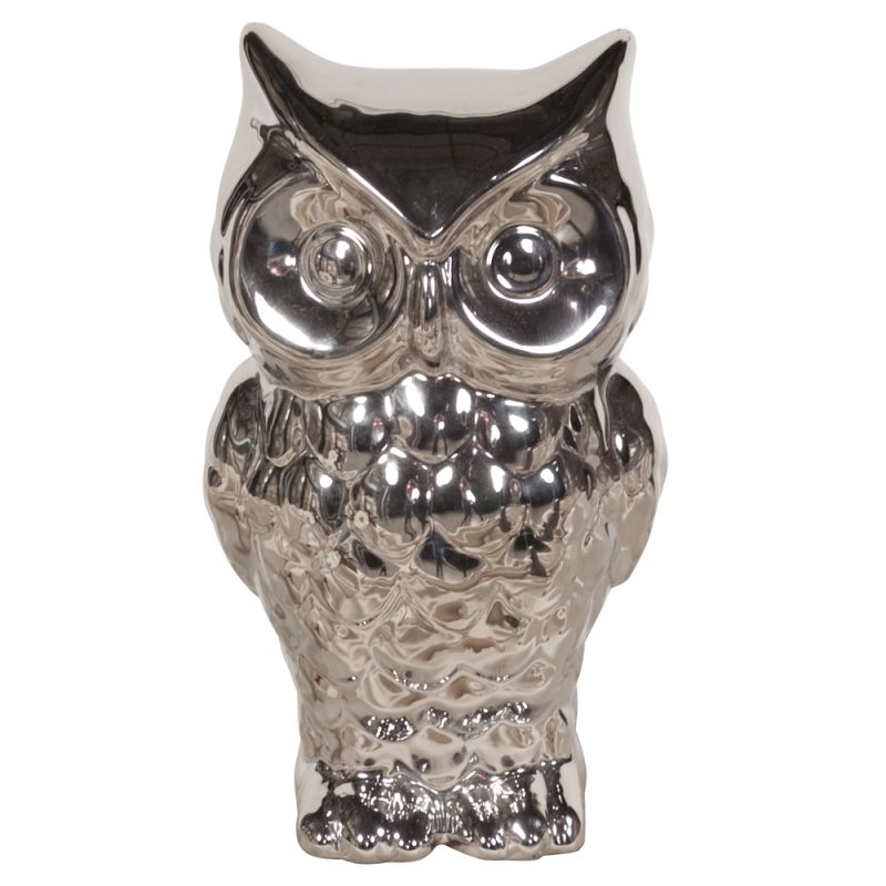 "Howard Elliott Plated Ceramic Owl 11"" Tall Ceramic Owl Nickel Plated"