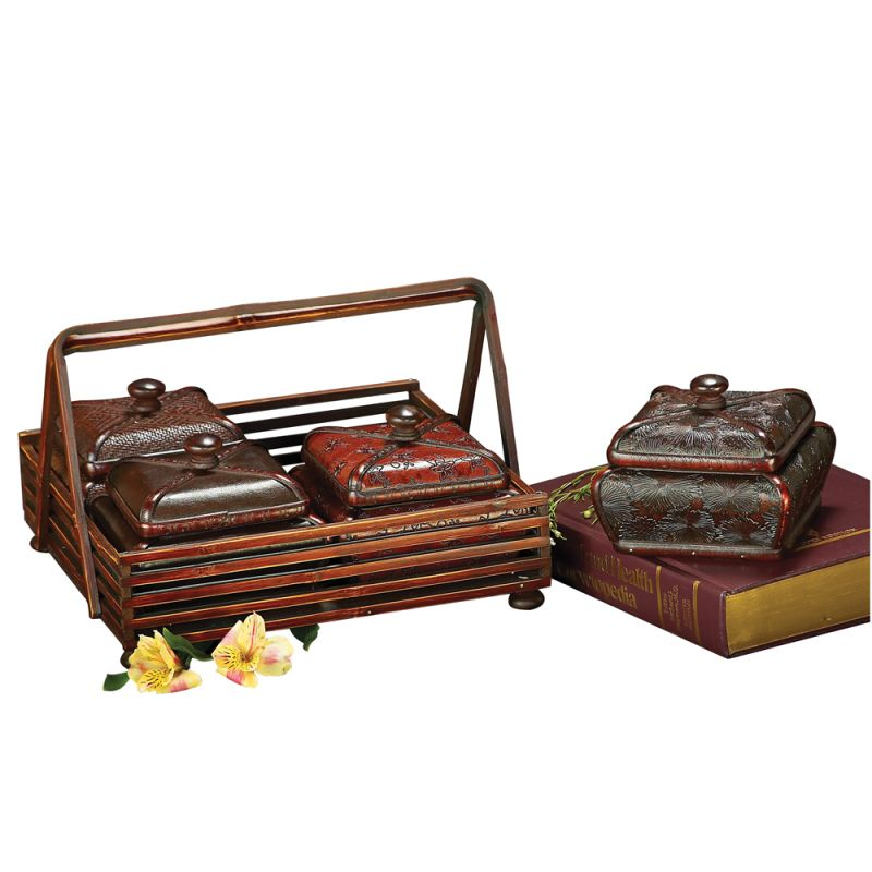 """Howard Elliott Jewelry Box Set with Basket 13"""" Wide Wood and Faux"""
