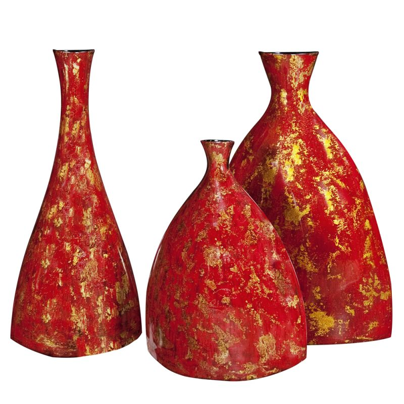 Howard Elliott Bright Red Lacquer Ceramic Vases (Set of 3) Set of 3