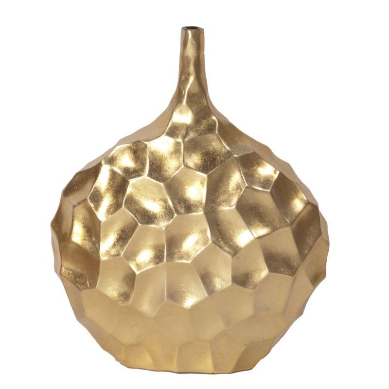 """Howard Elliott Marley Short Vase 23"""" Tall Wood Vase Brilliant Gold"""