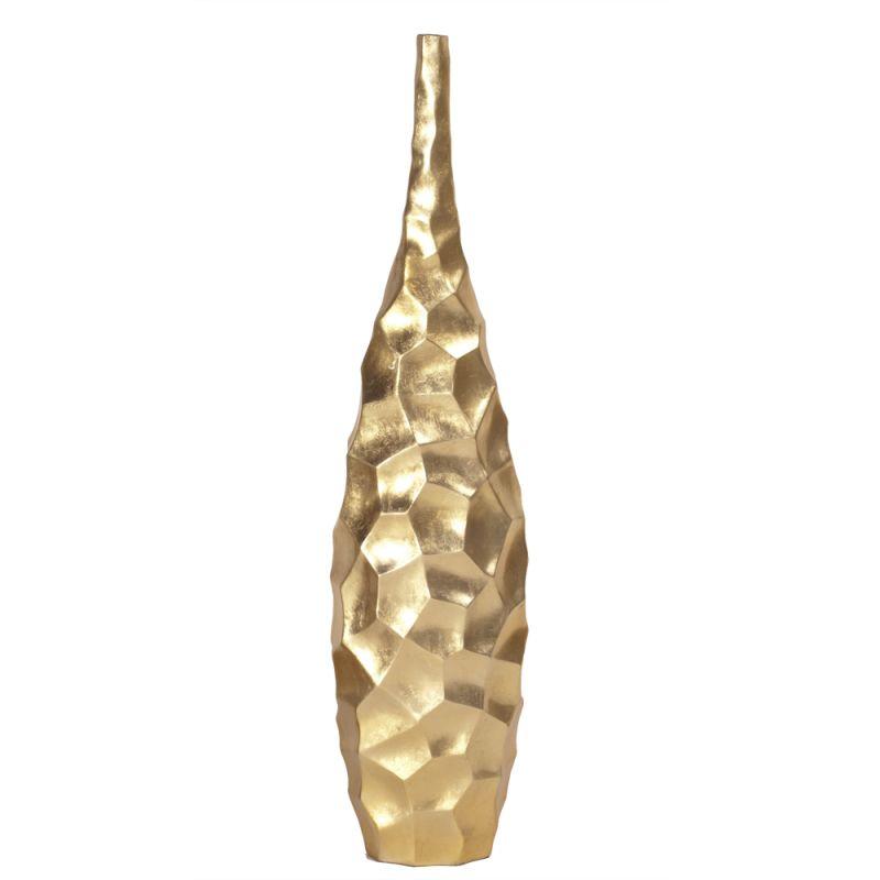 """Howard Elliott Marley Tall Vase 42"""" Tall Wood Vase Brilliant Gold Leaf"""