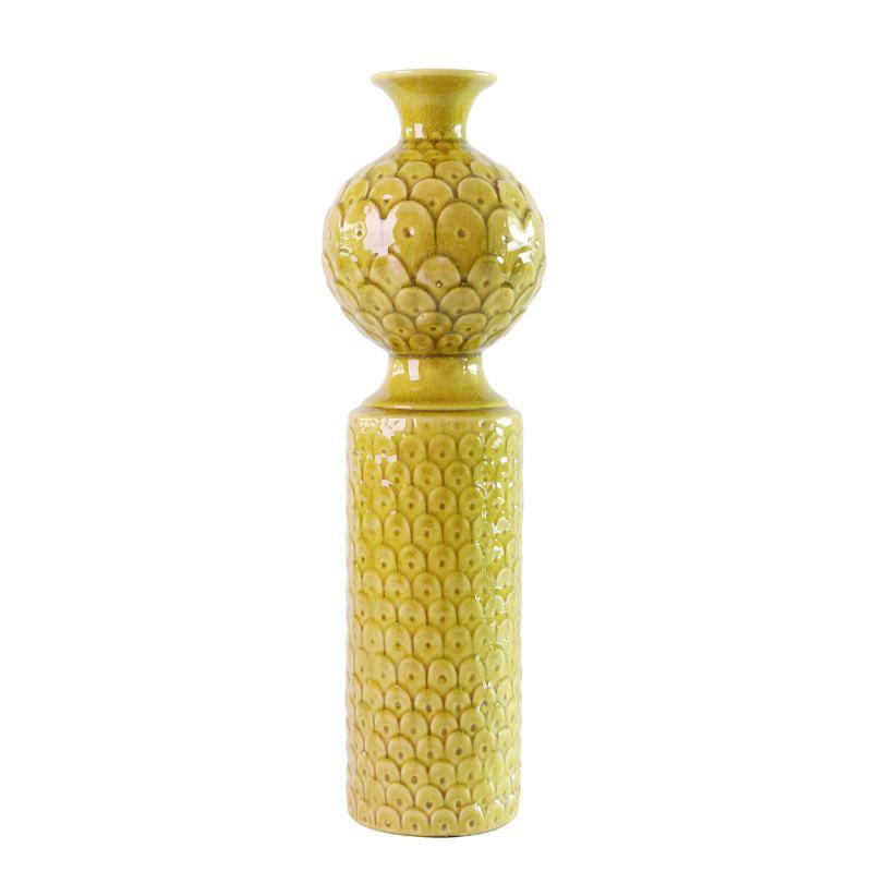 """Howard Elliott Medium Scalloped Textured Vase 20"""" Tall Ceramic Vase"""