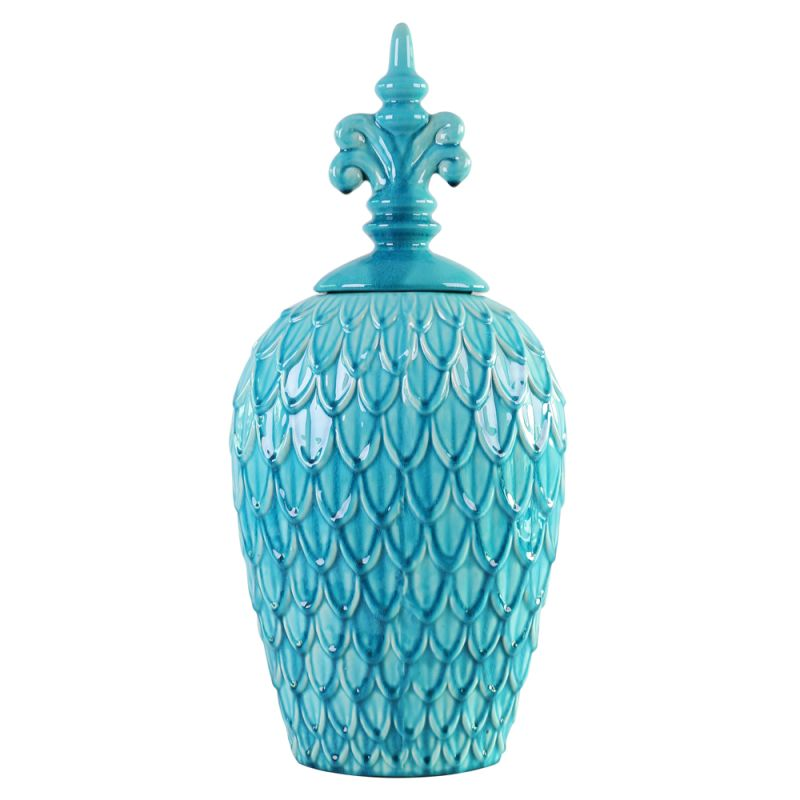 "Howard Elliott Medium Textured Urn 26"" Tall Ceramic Urn Turquoise Blue"