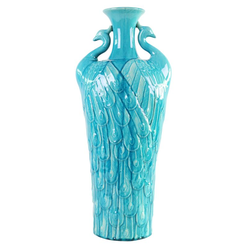 "Howard Elliott Tall Peacock Vase 24"" Tall Ceramic Vase Turquoise Blue"