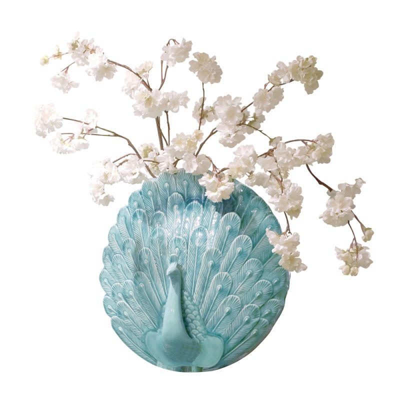 "Howard Elliott Peacock Wall Vase 6"" Tall Ceramic Vase Turquoise Blue"