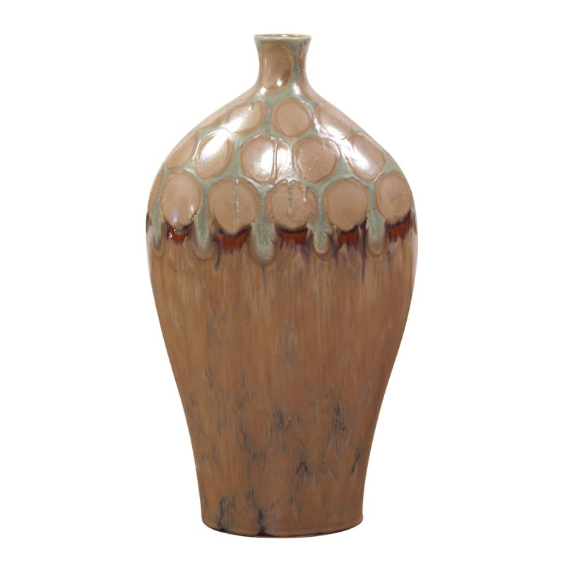 """Howard Elliott Tall Mocha and Verde Dripped Ceramic Vase 22"""" Tall"""