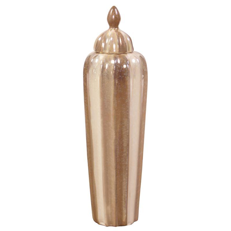 "Howard Elliott Tall Cream and Mocha Ribbed Ceramic Urn 20"" Tall"