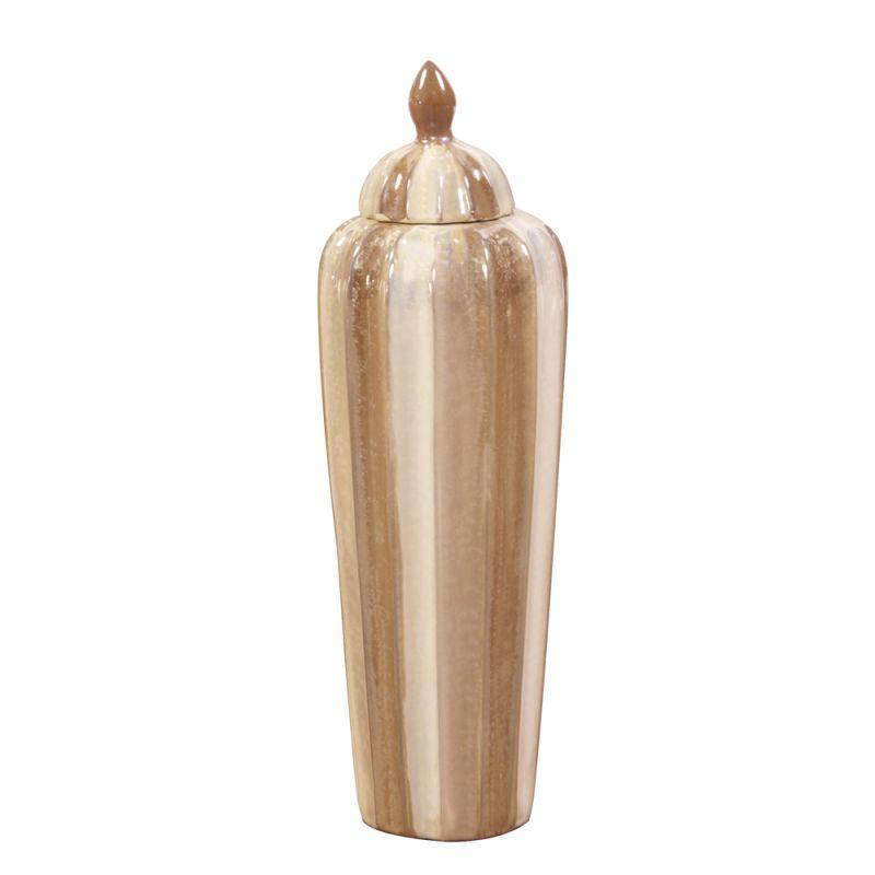 """Howard Elliott Short Cream and Mocha Ribbed Ceramic Urn 17"""" Tall"""
