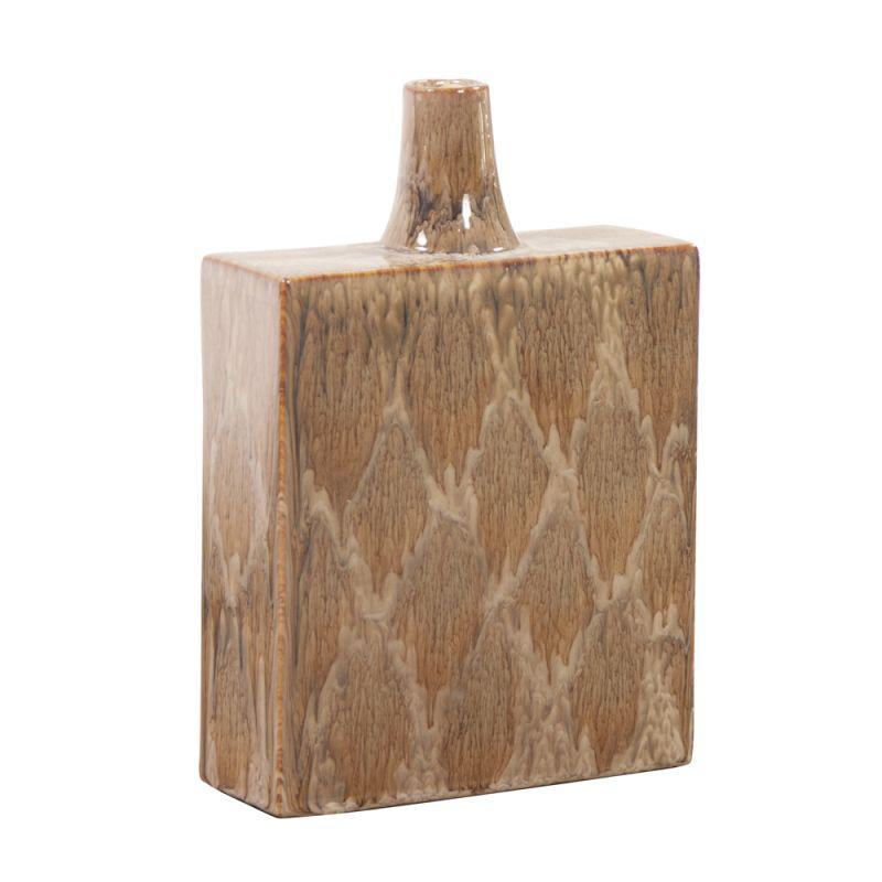 "Howard Elliott Wide Mocha and Cream Dripped Ceramic Vase 14"" Tall"